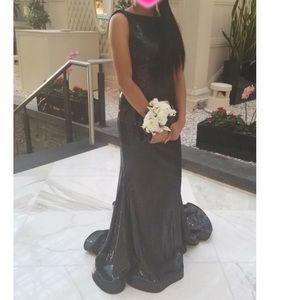 Long black sequin jovani prom dress